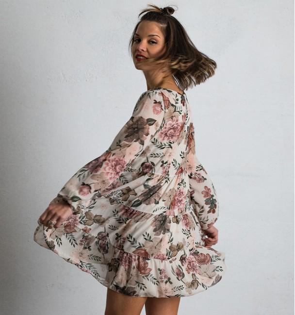 Jimena Beige Dress Boho