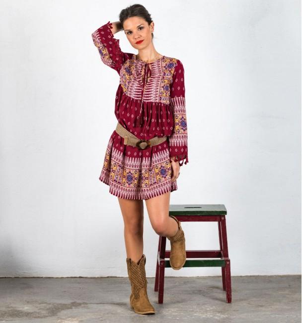 Almudena Short Dress Maroon