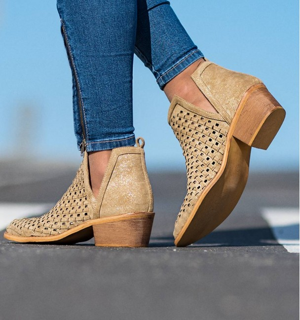 Arica Gold Ankle Boots