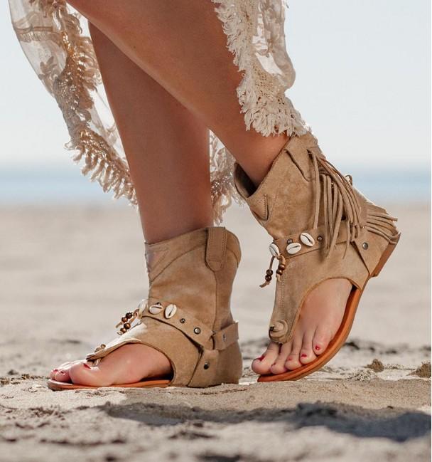 Hura Beige Sandals Boots