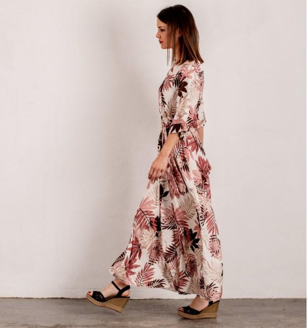 Dress Long Palm Pink