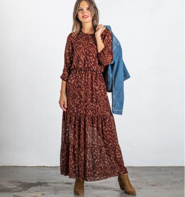 Vestido Longo Moshana Borgonha