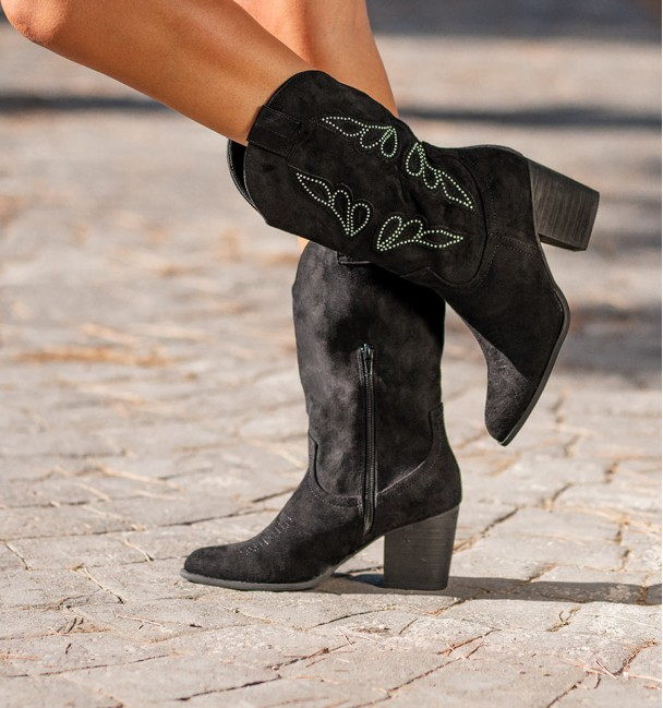 Black Soft High Cowboy Boots Cocuy