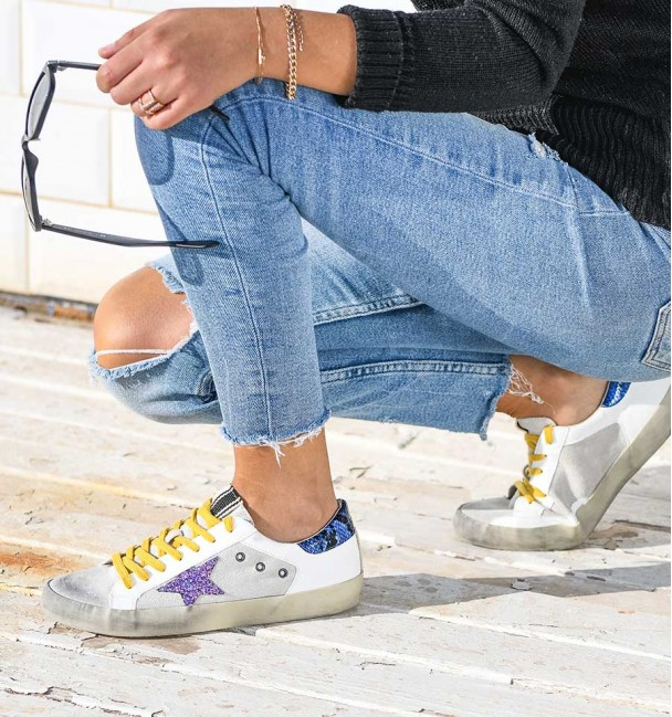 Sand Purple Blue Lyra Sneakers