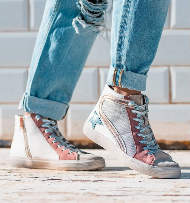 High Sand Pink Blue Sneakers Tabit