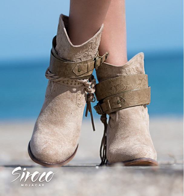 Boho style heel ankle boots for women