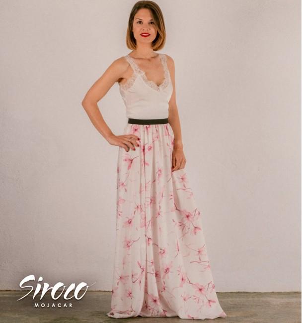 white boho dress with printed skirt
