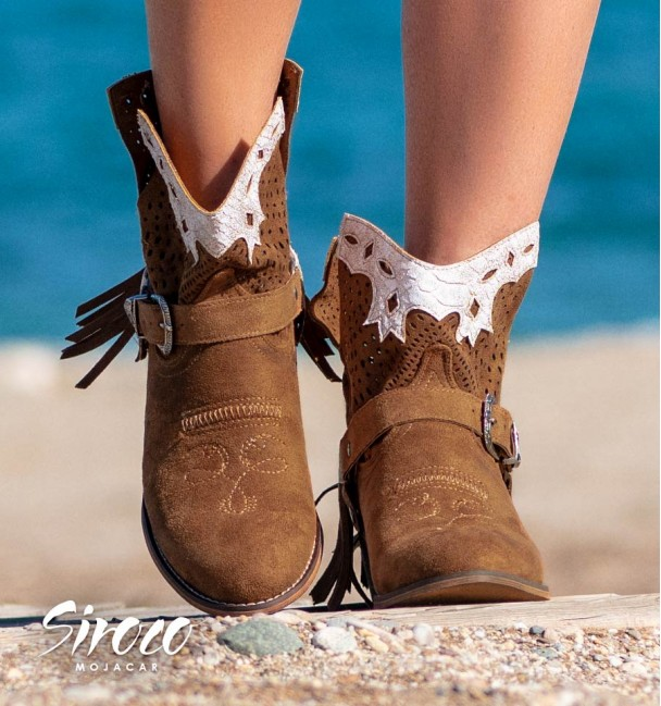 brown and white embroidered country boots for women