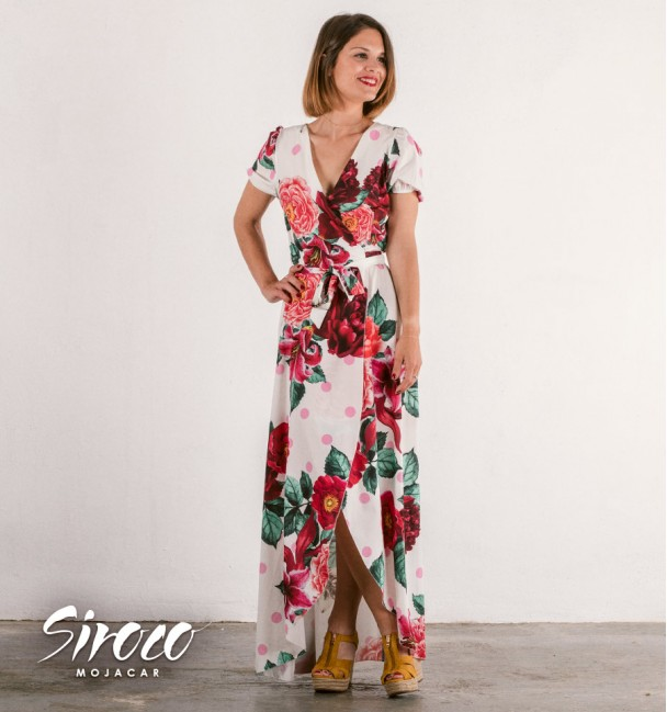long white boho dress with floral print with v-neck