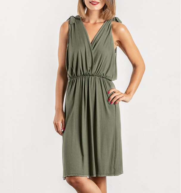 khaki mustard green dress with suspenders