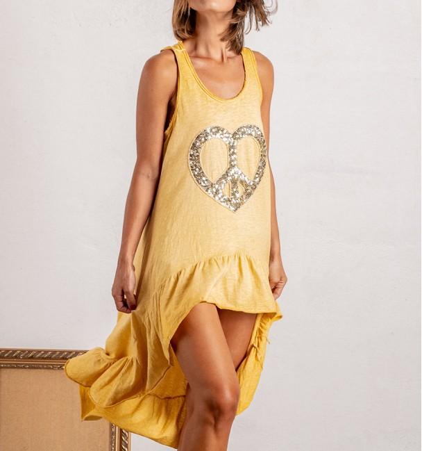 vestido boho baunilha amarelo com estampado