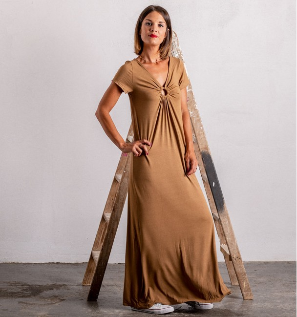 Indie brown camel dress for women with long and scoop neck