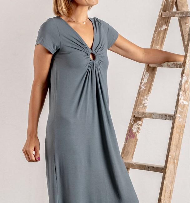 Smooth smoke gray boho dress with short sleeves