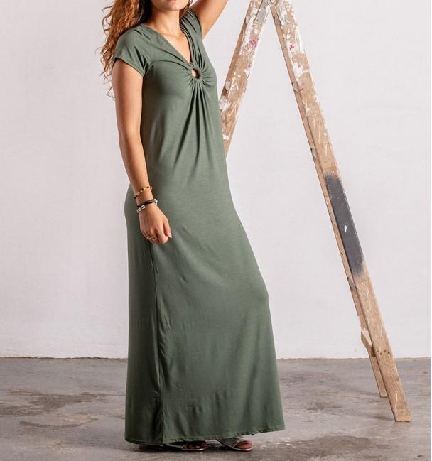 plain khaki green boho dress with short sleeves