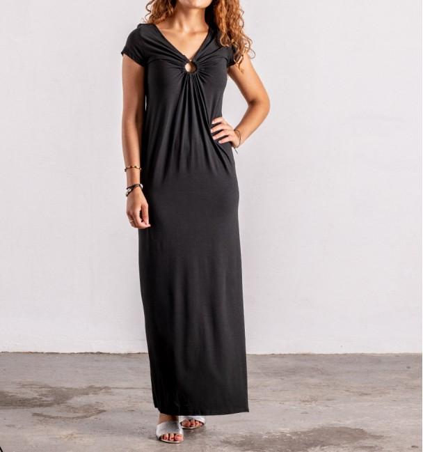 plain black boho dress with short sleeves