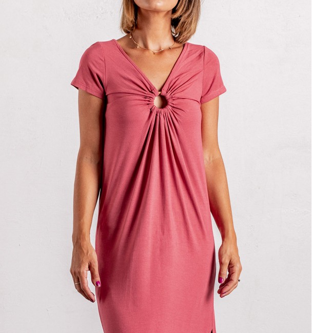 Watermelon pink indie long dress with short sleeves