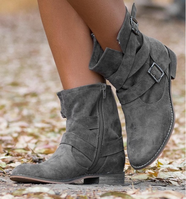 Taupe brown cowboy low boots with buckles