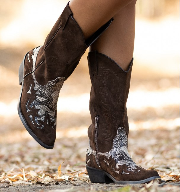 brown cowboy boots with snake print