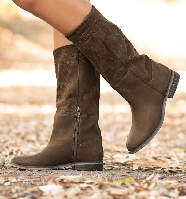 woman cowboy Boots Bogart Brown heel brown