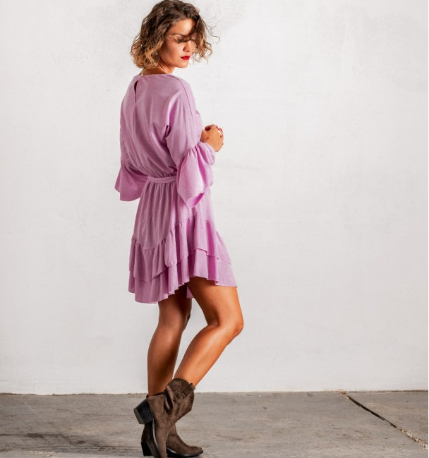 short lilac hippie dress with frills
