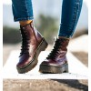 burgundy military style ankle boots with platform for women alexander