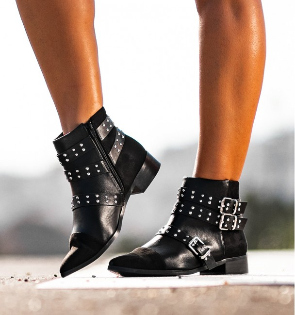 Texan black ankle boots with buckles and studs