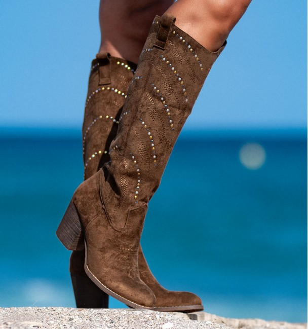 brown boots with heels and studs