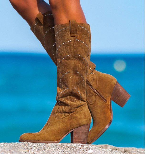 Texan-style camel boots with colored studs everest