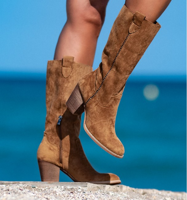 camel mid boot for woman