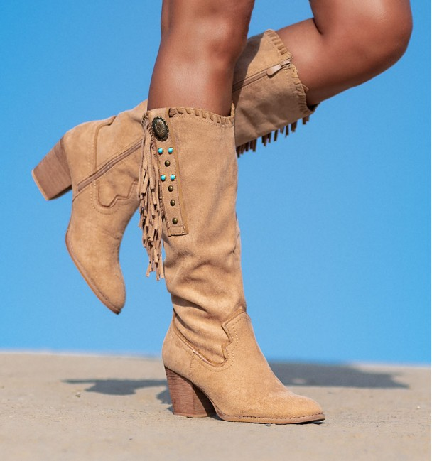 fringed high heel boots