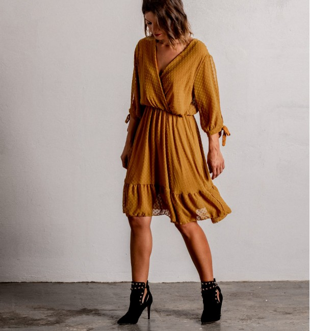 Plumeti Mustard Dress