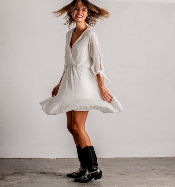 Plumeti Dress White