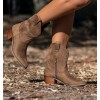 Camel Embroidered Boots Mini Hollywood