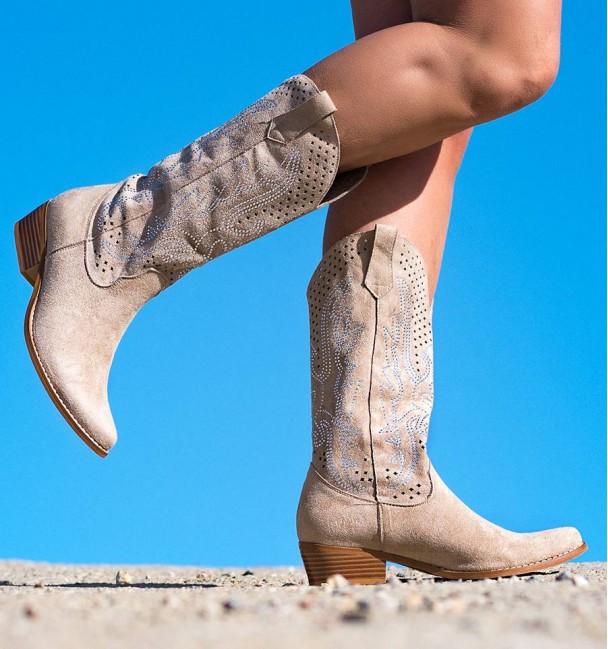 Suakin Beige Heeled Boots