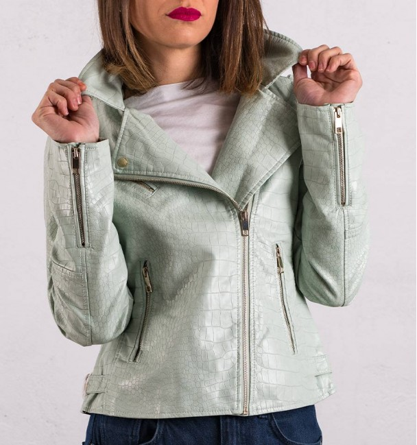 Caribe Green Biker Jacket