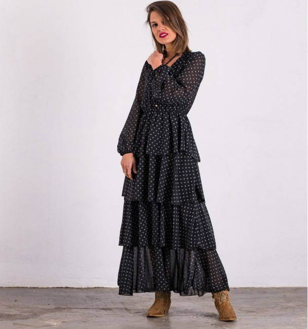 Yao Black Frilly Dress