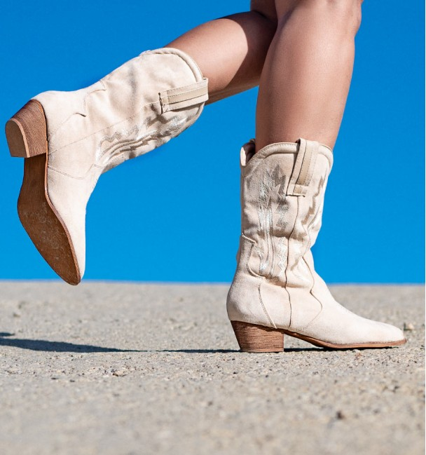 America Beige Embroidered Boots