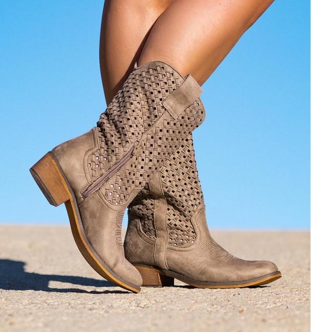 Sagano Taupe Heeled Boots